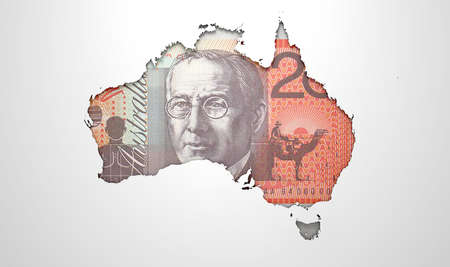 australian dollar notes: The shape of the country of Australia in the colours of its national australian dollar  currency recessed into an isolated white surface