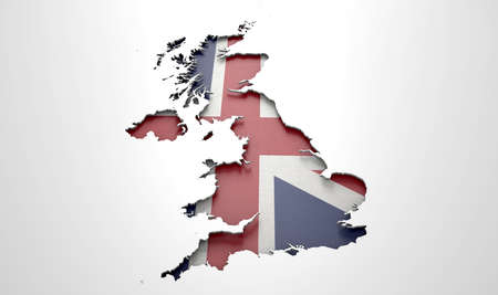 recessed: The shape of the country of Great Britain in the colours of its national flag recessed into an isolated white surface