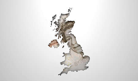 recessed: The shape of the country of Great Britain in the colours of its pound currency recessed into an isolated white surface