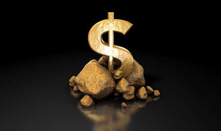 backing: A collection of gold nuggets propping up a shiny gold dollar symbol on an isolated dark background Stock Photo