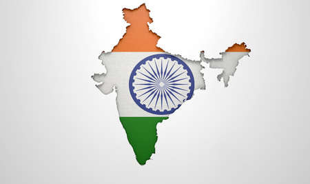 rupee: The shape of the country of India in the colours of its national flag recessed into an isolated white surface