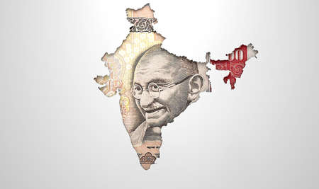 recessed: The shape of the country of India in the colours of its national rupee currency recessed into an isolated white surface Stock Photo