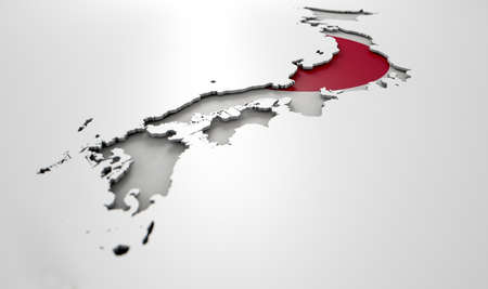 recessed: The shape of the country of Japan in the colours of its national flag recessed into an isolated white surface