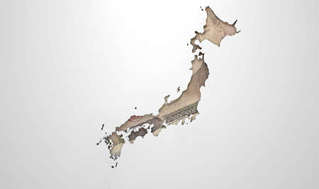 recessed: The shape of the country of Japan in the colours of its national yen currency recessed into an isolated white surface