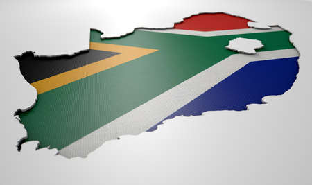 recessed: The shape of the country of South Africa in the colours of its national flag recessed into an isolated white surface