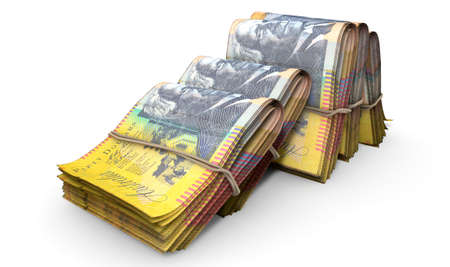bankroll: A close-up view of five wads of folded over stacks of australian dollar banknotes each bound infomally by a rubber band set out in a domino formation on an isolated white studio background