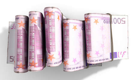 doubled: A close-up view of five wads of folded over stacks of euro banknotes each bound infomally by a rubber band set out in a domino formation on an isolated white studio background