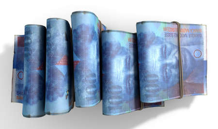 swiss franc note: A close-up view of five wads of folded over stacks of swiss franc banknotes each bound infomally by a rubber band set out in a domino formation on an isolated dark studio background