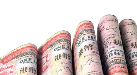 doubled: A close-up view of five wads of folded over stacks of hong kong dollar banknotes each bound infomally by a rubber band set out in a domino formation on an isolated white studio background Stock Photo