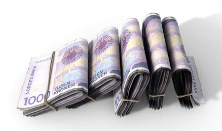 bankroll: A close-up view of five wads of folded over stacks of norwegian kroner banknotes each bound infomally by a rubber band set out in a domino formation on an isolated white studio background