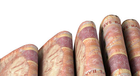 doubled: A close-up view of five wads of folded over stacks of south african rand banknotes each bound infomally by a rubber band set out in a domino formation on an isolated white studio background