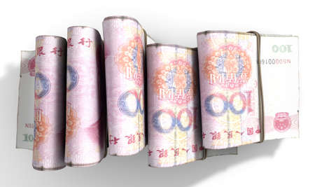 wads: A close-up view of five wads of folded over stacks of chinese yuan banknotes each bound infomally by a rubber band set out in a domino formation on an isolated white studio background