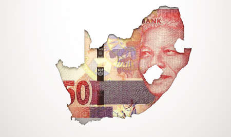 recessed: The shape of the country of South Africa in the colours of its rand currency recessed into an isolated white surface Stock Photo