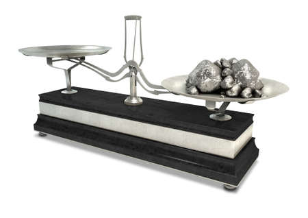 platinum background: An old metal two pan balance scale with platinum nuggets in one side on an isolated white background Stock Photo