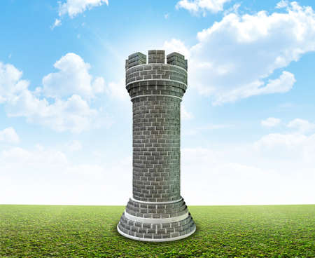 monolithic: A monolithic chess castle on a perfect flat green lawn against a blue sky with white clouds