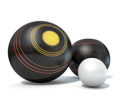 Two wooden lawn bowling balls surrounding a white jack on an isolated white studio background