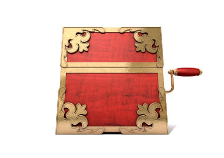embellished: An ornate antique closed jack-in-the-box mad of red wood and gold trimmings on an isolated white studio background