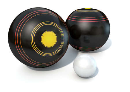 lawn: Two wooden lawn bowling balls surrounding a white jack on an isolated white studio background