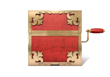 wood box: An ornate antique closed jack-in-the-box mad of red wood and gold trimmings on an isolated white studio background