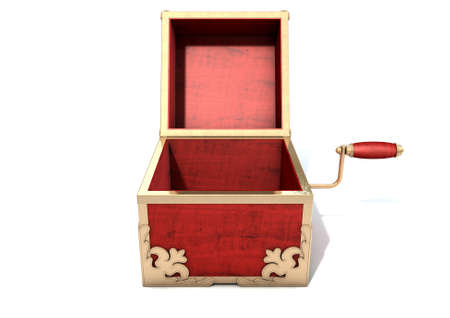 toy box: An ornate antique open jack-in-the-box mad of red wood and gold trimmings on an isolated white studio background