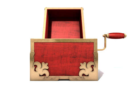 gaping: An ornate antique open jack-in-the-box mad of red wood and gold trimmings on an isolated white studio background