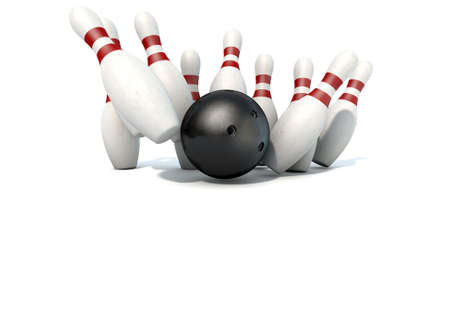struck: An arrangement of white and red used vintage bowling pins being struck by a bowling ball on an isolated white studio background