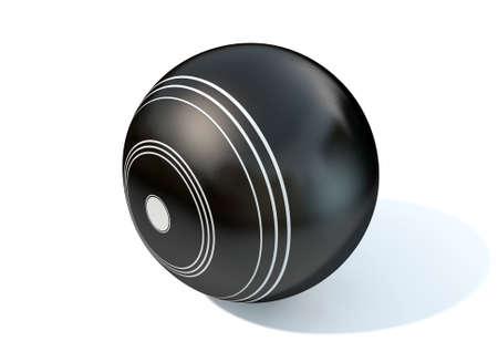 biased: Una palla di legno bocce su un isolato sfondo bianco studio