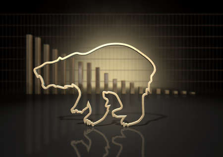bearish market: An abstract closeup of a gold outline depicting a stylized bear representing financial market trends on a bar graph background