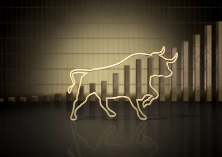 market trends: An abstract closeup of a gold outline depicting a stylized bull representing financial market trends on a bar graph background