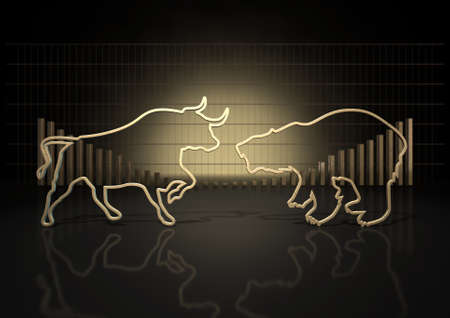 bear market: An abstract closeup of two gold outlines depicting a stylized bull and a bear representing financial market trends on a bar graph background