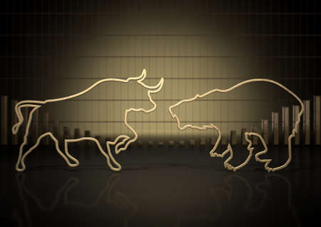 market trends: An abstract closeup of two gold outlines depicting a stylized bull and a bear representing financial market trends on a bar graph background