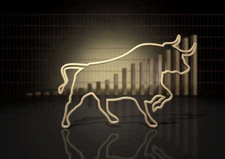 An abstract closeup of a gold outline depicting a stylized bull representing financial market trends on a bar graph background
