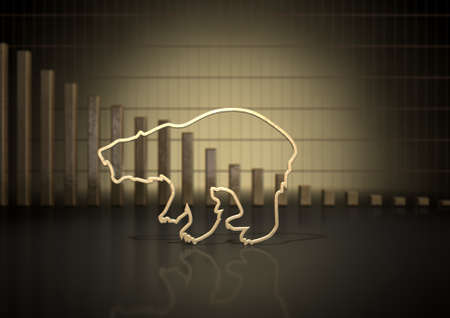 financial market: An abstract closeup of a gold outline depicting a stylized bear representing financial market trends on a bar graph background