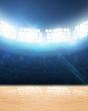 terrain de basket: Un Gymnase couverte avec un plancher en bois banalis�e sous les projecteurs lumineux Banque d'images