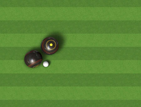 A top view of a set of wooden lawn bowls next to a jack on a perfect flat green lawn Foto de archivo