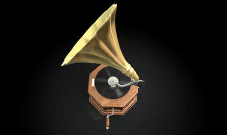 phonograph: An old brass and wood gramophone with a vinyl record on it on an isolated dark background Stock Photo