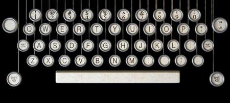 maquina de escribir: Un extremo cerca de las teclas de un typwriter la vendimia en un fondo oscuro Foto de archivo