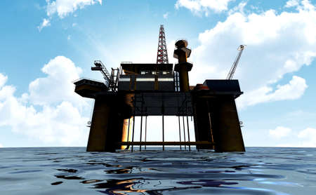 'rig out': A regular view of an oil rig out at sea on a blue cloudy sky background