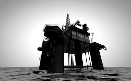 oil platforms: A regular view of an oil rig out at sea on an isolated light background