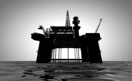 'rig out': A regular view of an oil rig out at sea on an isolated light background