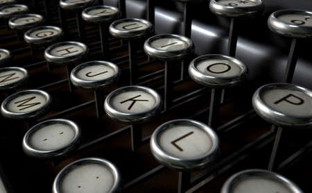 extreme close up: An extreme close up of the keys of a vintage typwriter on a dark background
