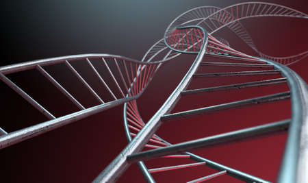 interconnected: An abstract strand of a thread of interconnected steel cube bars forming a curled DNA type structure on an isolated background