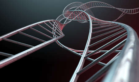 substructure: An abstract strand of a thread of interconnected steel cube bars forming a curled DNA type structure on an isolated background