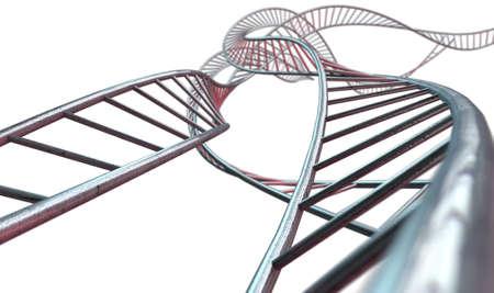 interconnected: Una hebra abstracta de un hilo de bares cubo de acero interconectadas formando una estructura de tipo ADN enroscada en un fondo aislado Foto de archivo