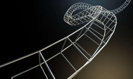 interconnected: Una hebra abstracta de un hilo de bares cubo de acero interconectadas formando una estructura enroscada en un fondo aislado