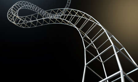 contruction: An abstract strand of a thread of interconnected steel cube bars forming a curled structure on an isolated background