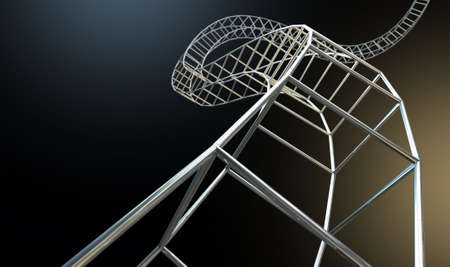interconnected: An abstract strand of a thread of interconnected steel cube bars forming a curled structure on an isolated background