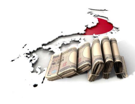 bankroll: The shape of the country of Japan in the colours of its national flag recessed into an isolated white surface with a wad of folded japanese yen notes resting on it