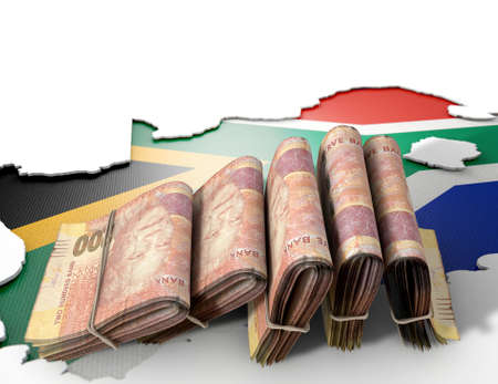 rand: The shape of the country of South Africa in the colours of its national flag recessed into an isolated white surface with a wad of folded south african rand notes resting on it