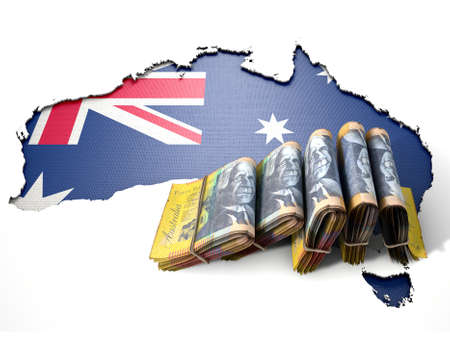 australian dollar notes: The shape of the country of Australia in the colours of its national flag recessed into an isolated white surface with a wad of folded Australian Dollar notes resting on it Stock Photo